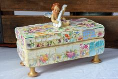 Mary P Mosaics Vintage China Mosaic Wooden Box with Angel Figurine Shabby Chic | eBay