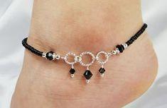 Anklet, Ankle Bracelet, Jet Black Swarovski Crystal Dangles, Circle Ring Connectors, Beaded, Customizable, Wedding, Beach, Vacation on Etsy, $13.50