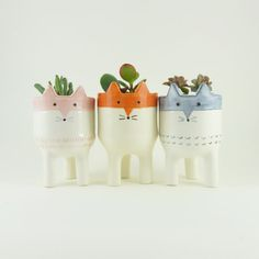 Fox Planter Trio  Ceramic Fox Plant Pots  Cute by MinkyMooCeramics