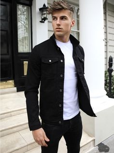 Mens > Denim > The Denver Black Denim Jacket Outfit, Black Outfit Men, Jean Jacket Outfits, Black Outfits, Teenage Boy Fashion, Stylish Mens Outfits, Men's Casual Outfits, Winter Outfits Men, Style Masculin