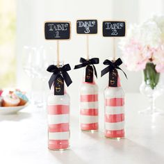 Guests will love these cute soda bottle table numbers. It's a crafty, creative way to celebrate ...