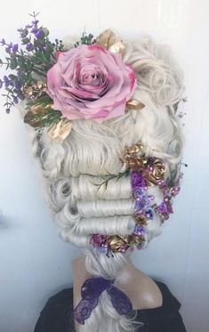 Carnival wig Blonde wig Marie-Antoinette wig Rococo wig century wig Decorated wig Styled wig Wig With Flowers Cosplay wig Drag wig Blonde Hair Extensions, Blonde Wig, 18th Century Wigs, 19th Century, Kirsten Dunst, Marie Antoinette Costume, Drag Wigs, Rococo Fashion, Vintage Fashion