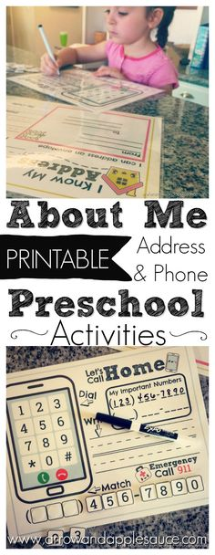 We're learning about our address and phone number while practicing to dial and to address an envelope. Enjoy these fun and educational printables including a free About Me interview page, phone number activity, and address activity. #aboutme #phonenumber #address #learningathome #childsafety #educational #printables #kidsactivities #interview #learningtowrite
