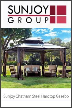 If you're looking for a gazebo that puts the hard in hard top, and provides protection and shade all summer long on your patio or somewhere in your backyard, one option to consider is the Sunjoy Chatham Steel Hardtop Gazebo.  Find out more about it in our full review!  #sunjoy #gazebolife #thegnomeknows #backyardfun Backyard Gazebo, Pergola, Patio, Hardtop Gazebo, Wooden Gazebo, Very Tired, Roof Panels, Get Outside, Good Times