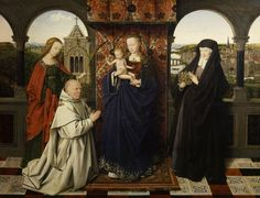 'The Madonna with Jan Vos', Jan Van Eyck. at the time of Van Eyck's death this painting of the Madonna with Jan Vos was left unfinished. It was completed in his style by one of his followers, Petrus Christus.