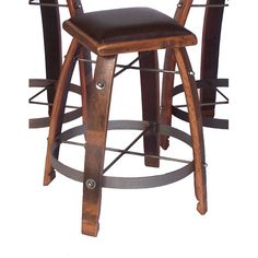 Caramel 26-Inch Stool with Chocolate Leather Seat