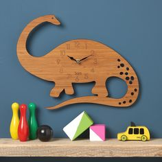 Dinosaur Clock Diplodocus Modern Wall Clock Childrens Clock laser cut by Owl & Otter