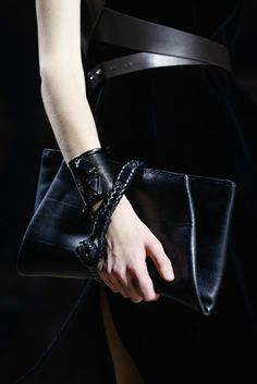 Black leather clutch bag - runway accessories, chic fashion details // Lanvin Fall 2015