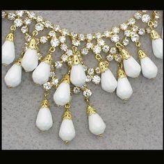 Loops of Rhinestones Necklace Earrings 1960s Demi Parure Runway Set from toinetterl on Ruby Lane