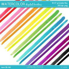 watercolor borders, scrapbook borders, digi scrapbook supplies, .png, commercial use okay, instant download, SB146