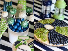 navy   green pool party: cake balls with sprinkles, kiwi   blueberry beach ball fruit pizza styling and printables by TomKat Studio