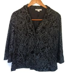 Coldwater Creek  Womens Sz 8 Jacket Blazer Paisley Black  Silver Flaired Sleeves #ColdwaterCreek #BasicJacket