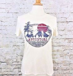 New Modern Lux Women T-Shirt 'Adventure On' Mountains Outdoors Size XS Print Top #ModernLux #GraphicTee