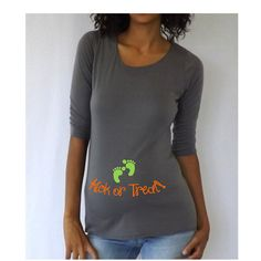 Funny Dark Gray Maternity Tshirt for Halloween Kick or Treat Short... ($20) ❤ liked on Polyvore featuring maternity, grey, t-shirts, tops and women's clothing