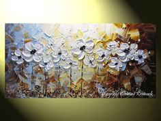 """""""White Simplicity"""" Original Fine #Art Painting Abstract Textured White Poppies Blue Brown Floral 24x48"""" Palette Knife Paintings White Flowers Gold Flower #Home #Decor Wall Art Nature Paintings Contemporary Landscape, by Artist Christine Krainock"""