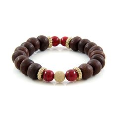 Ettika :: Bracelets :: Elastic :: Rudrani Beads Stretch Bracelet with Carnelian Stones and Solitary Gold Dusted Bead