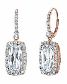 Designer 14K Rose Gold Victorian Style Crystal Leverback Earrings The Pearl Source. $59.00. Save 67%!