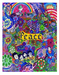 """The Beatles song """"Give Peace A Chance"""" was in heavy rotation on WABC-AM in NYC during the summer of I drew this with markers on a ca. Hippie Peace, Happy Hippie, Hippie Love, Peace On Earth, World Peace, Peace Love Happiness, Peace And Love, Chicano, Tarot"""