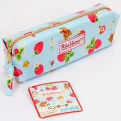 blue pencil/make-up/hair accessories case with bear strawberry flower from Japan