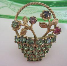 Vintage Basket of Flowers Brooch Spring Colors by Sisters2Vintage, $24.00