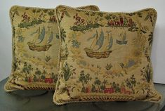 Tapestry Throw Pillow Cover depicting an old world scene