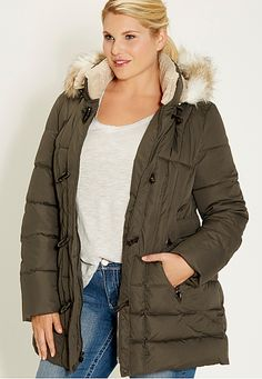 plus size puffer jacket with toggles - maurices.com