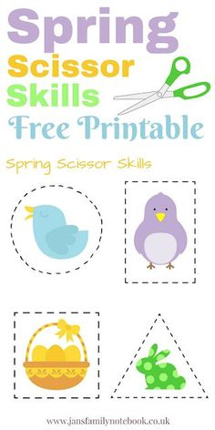 Spring Scissor Skills - Free Printable. Cutting practise for Preschool. Fine motor skills.
