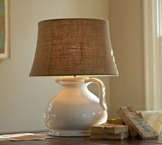 Extra-Large Burlap Tapered Drum Lamp Shade in Natural for the floor lamp in the living room | Pottery Barn