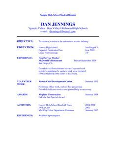 image result for basic resume template work volunteer school - Resume Builder For High School Students