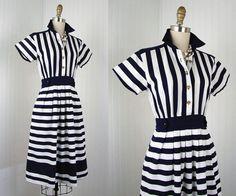 1980s Dress  Vintage 80s Dress Cotton Blue White by jumblelaya, $68.00