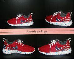 fe65e7c8a82 Custom Red Nike Roshe American Flag Print Marble Sole