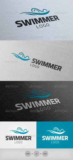 Swimmer Logo #GraphicRiver Description: An excellent logo template clean and elegant. Can be used with multiple variations. Resizable Vector logo. You can change the text easily. Usage: swimmer, swimming teams, sport activities, swimming club or a personal trainer swimming. F