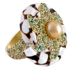 Cinta 18K Green Gold Marble Cone Shell Ring with Gold South Sea Pearl,  Blue Paraiba Pasion Topaz, Peridot, Green Sphene and brown Diamonds, Pavé