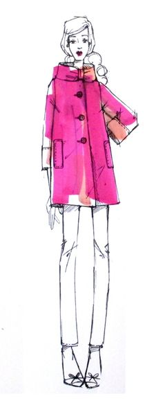 """""""this piece is: gorgeous favorite feature: the shocking pink color and bow detail at the neck. wear it with: black pants and a cool blouse. a little black dress. loafers for day and heels for the evening. take it out: anywhere–day or night."""" - deborah lloyd on the cherie coat"""