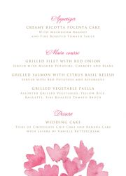 Choose your favorite or matching menu card to your invitation. Order in A6 or A5.