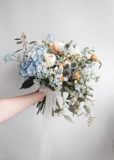 GO PASTEL? with a touch of something blue to soften your bridal bouquet ?GO PASTEL? with a touch of something blue to soften your bridal bouquet ? White Wedding Flowers, Bridal Flowers, Flower Bouquet Wedding, Floral Wedding, Wedding Greenery, Bouquet Flowers, Gold Flowers, White Bridal, Bridal Bouquets
