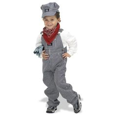 Train conductor costume idea for Max. We already have striped overalls and a red bandanna...just need the hat!