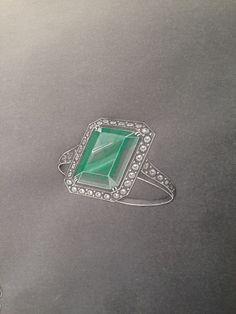 Gouache for a green emerald cut beryl in white gold and diamonds- Art Deco setting.