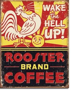 Rooster Brand Coffee Tin Sign | Metal | Vintage | Retro | A Simpler Time | A Simpler Time