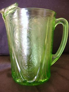 RARE VINTAGE GREEN URANIUM / VASELINE GLASS ROYAL LACE LARGE WATER PITCHER JUG    HAZEL ATLASvase. My Mom had this jug in a gold shade.  GL