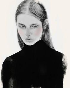 By Tantowi Gilang Pratikto Mood #crop #sketch ❤☕❤ - - - - photo reference from kamilzacharski.tumblr.com #illustration #artwork #pencil #drawing #mood #vsco #vscocam #fashionillustration #portrait #ink #blackandwhite #art #fashionsketch #hairstyle