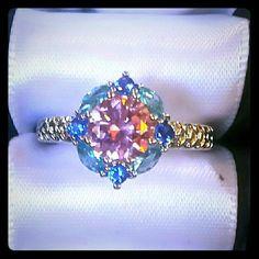 Blue & Pink topaz cz ring, size 6 Beautiful blue and pink topaz cz ring Jewelry Rings