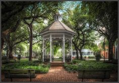 Whitefield Square, the location of a beautiful Gazebo in Historic Savannah