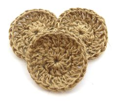 Crochet coasters in twine - pattern featured in issue 4 of iMake Magazine: http://www.imakegsy.com/home/2014/7/29/imake-magazine-issue-4  #crochet #pattern