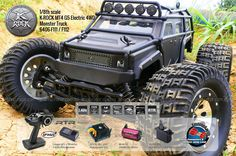 [Equipped with engine sound system] THUNDER TIGER 2.4GHz K-ROCK MTA G5 Electric Monster Truck 1/8 Scale 4WD (Ready-To-Run: RTR) | GoPro/Camera Compatible | Battery & Charger not included. | Range of Color Scheme: Black(F111) or Iron-Gray(F112).