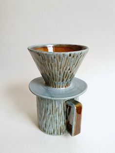 Slate blue coffee pour over and mug set by MUD TO by MudToLife