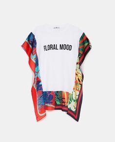 Image 8 de T-SHIRT WITH CONTRASTING PRINT de Zara Zara, Looney Tunes, Warner Bros, Cheap Fashion, T Shirts, Neck T Shirt, Short Sleeves, Floral, Cotton