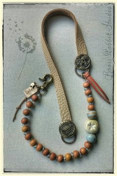 Bohemian necklace leather beaded mixed media by BrassRabbitStudio