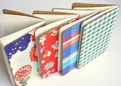 Fabric covered notebooks! Make a couple in assorted colors and you have a nice teacher's gift, stocking stuffer, or just to keep them in your purse.