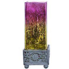 "Studio Art Glass Square Uplight Mercury Glass 8.8"" Table Lamp"